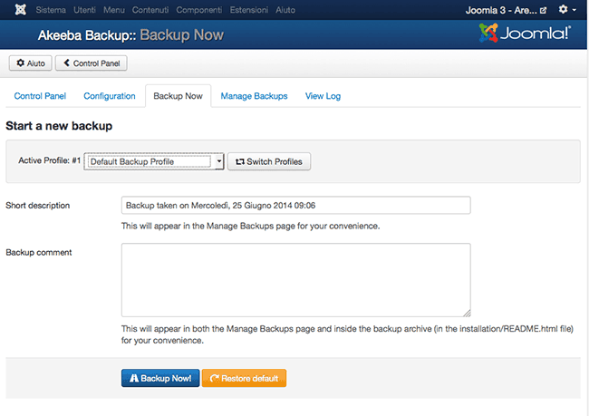 Come fare un backup di un sito Joomla con Akeeba Backup