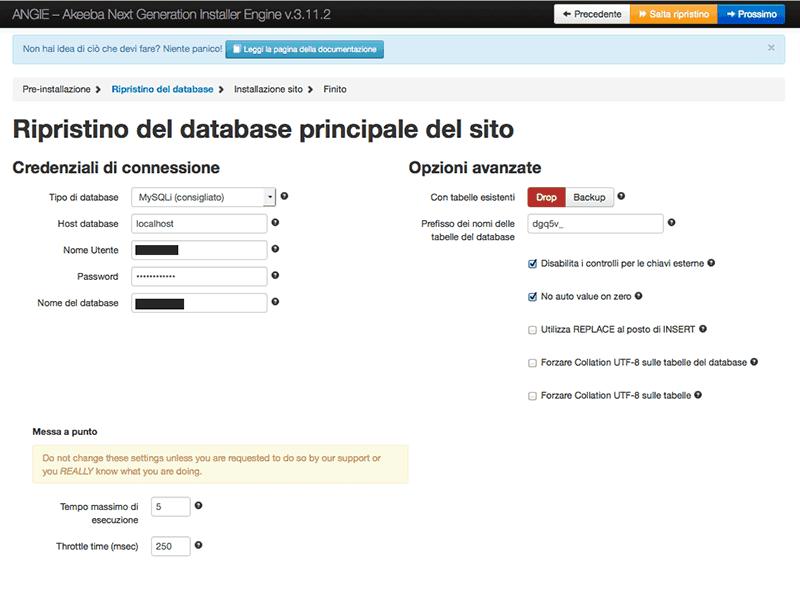 Inserimento dati di accesso MySQL per il ripristino del database
