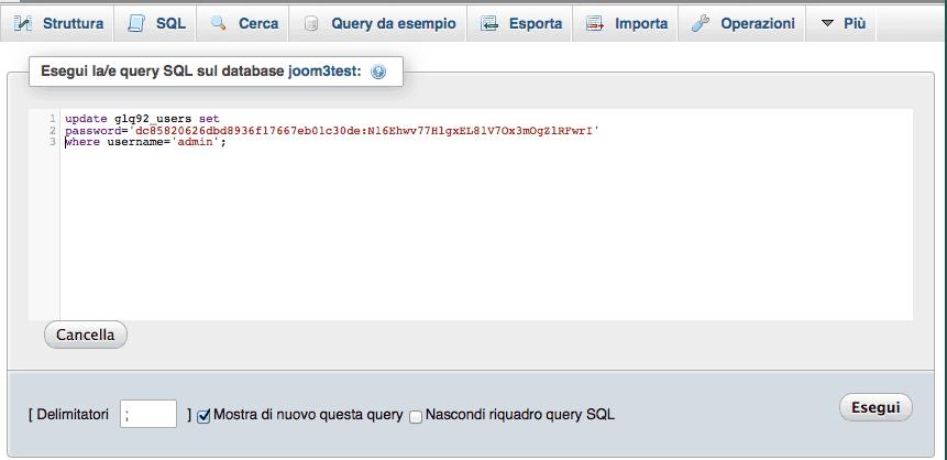 Query database reset password Joomla