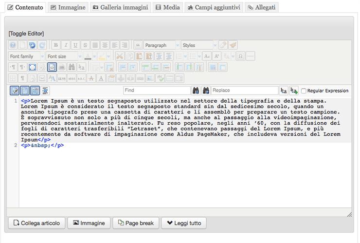 joomla inserire codice html puro