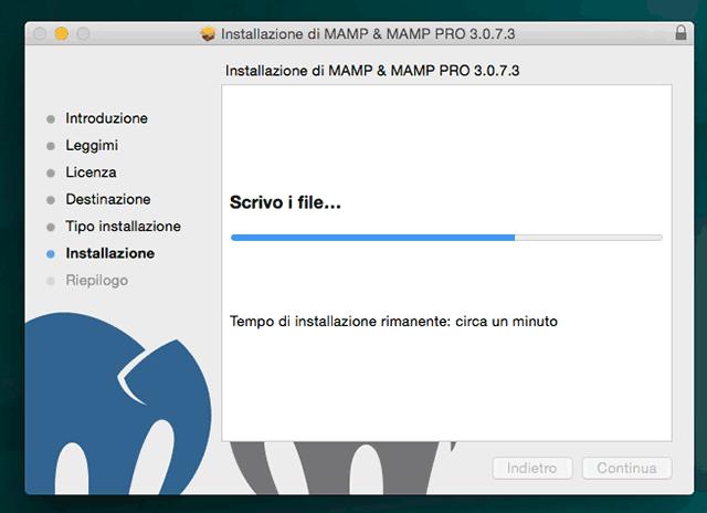 progresso installazione mamp