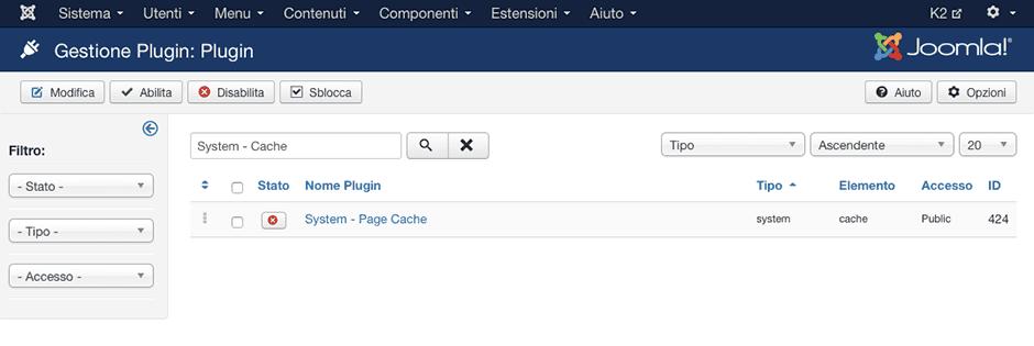 abilitazione cache plugin di joomla