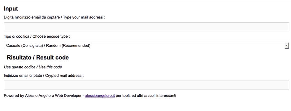 come criptare indirizzo email di joomla k2