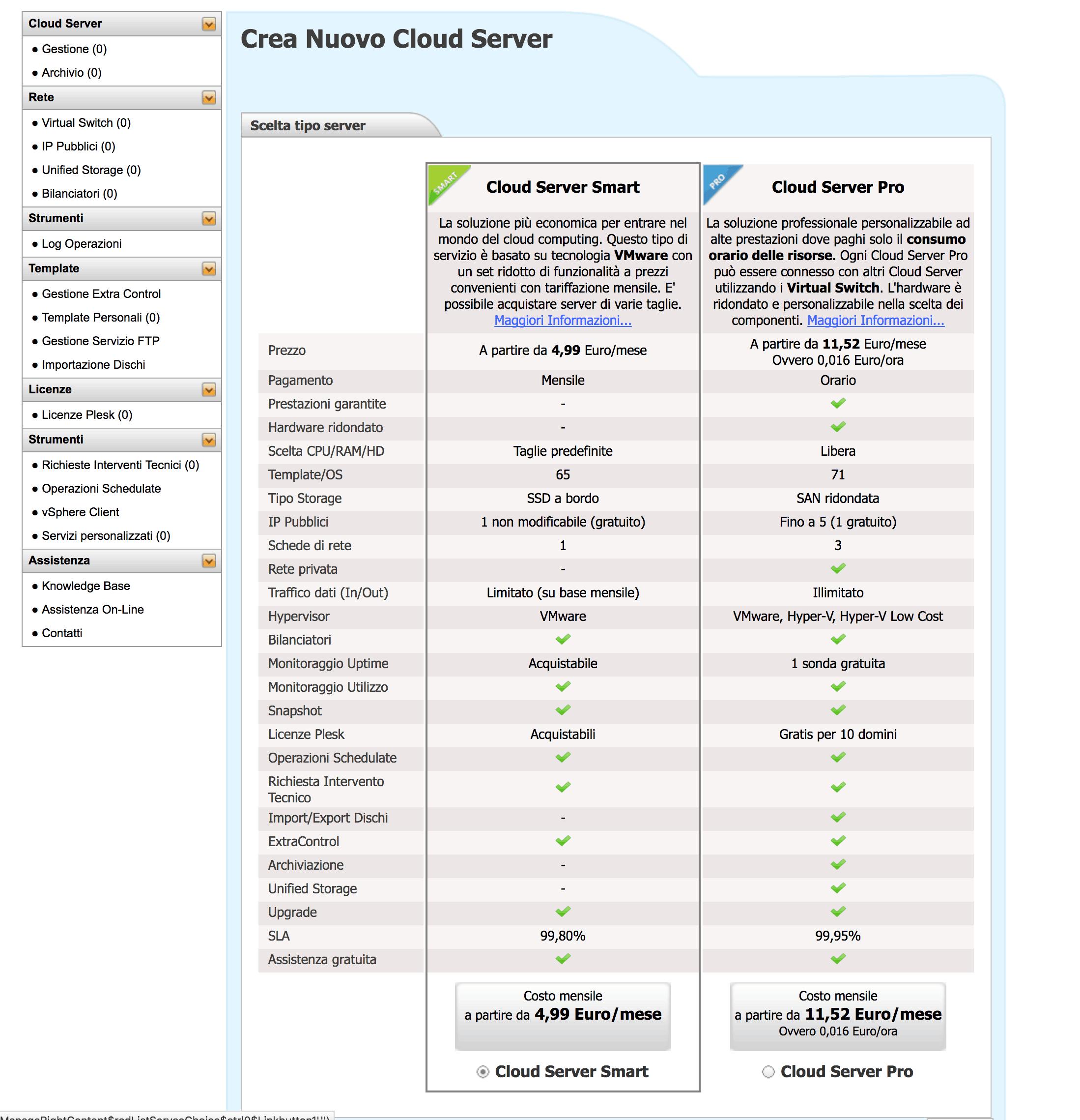 scelta server aruba