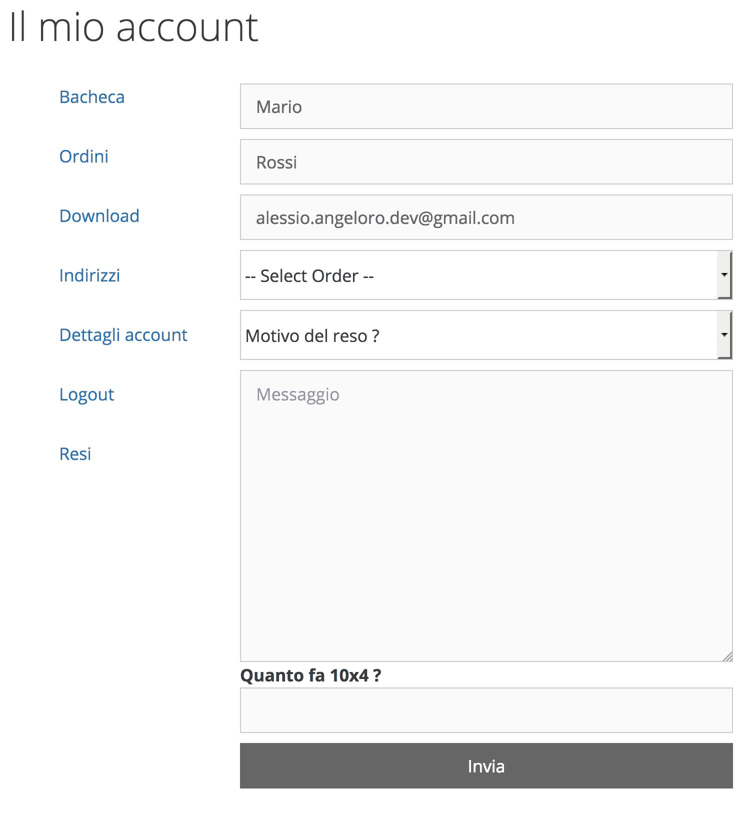 personalizzare pagina account woocommerce