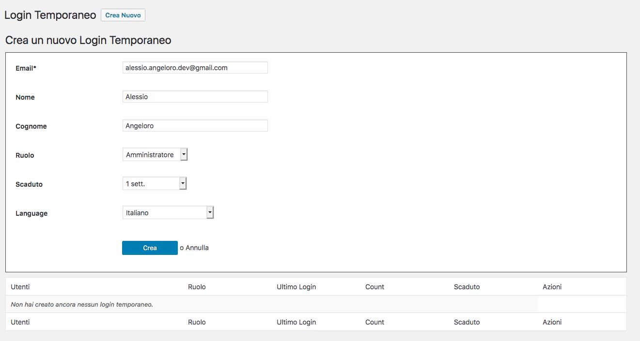 come creare un utente wordpress