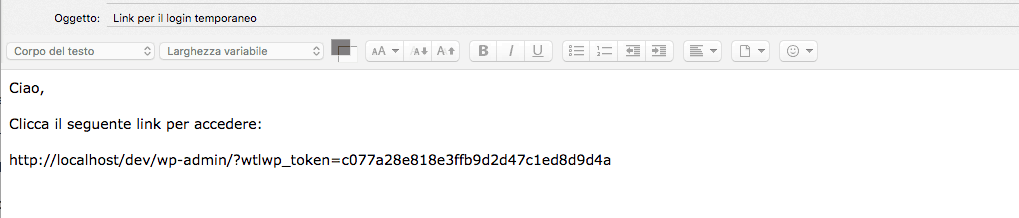 link login temporaneo wordpress
