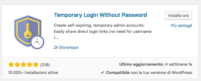 wordpress login temporaneo