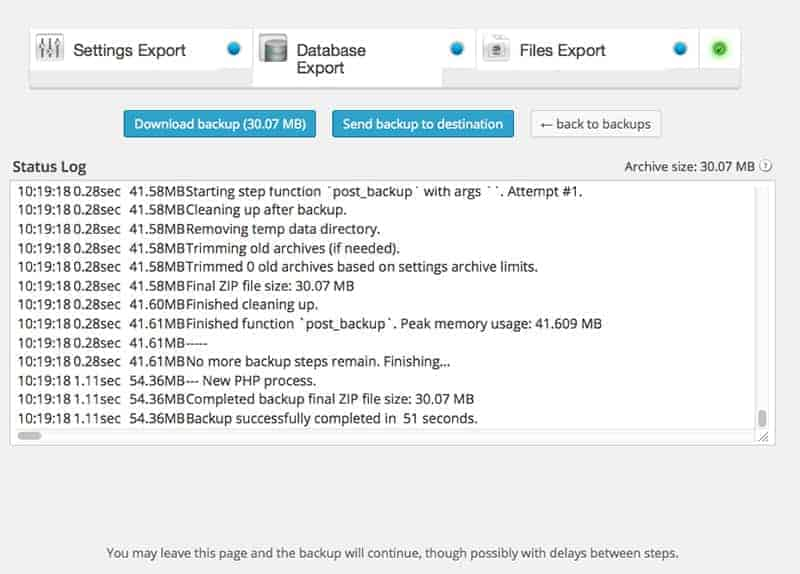 Finestra di log WordPress con Backup Buddy