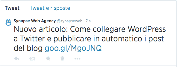 Esempio tweet da WordPress