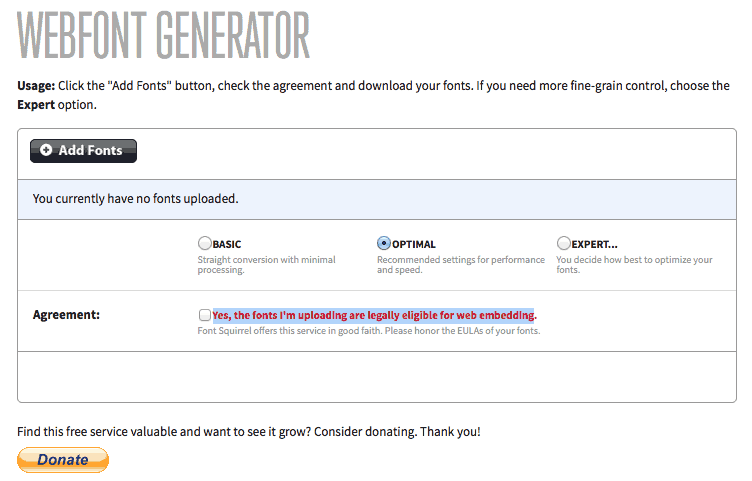 Webfont generator