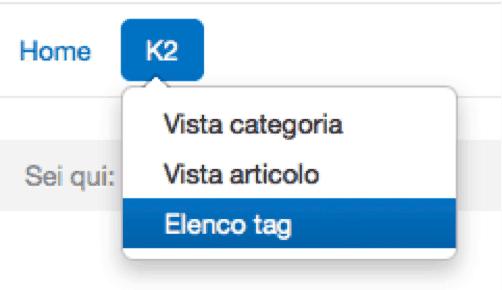 front end menu k2 link tag