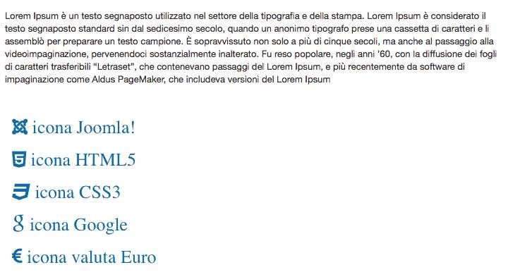 glyphi icon in articolo joomla