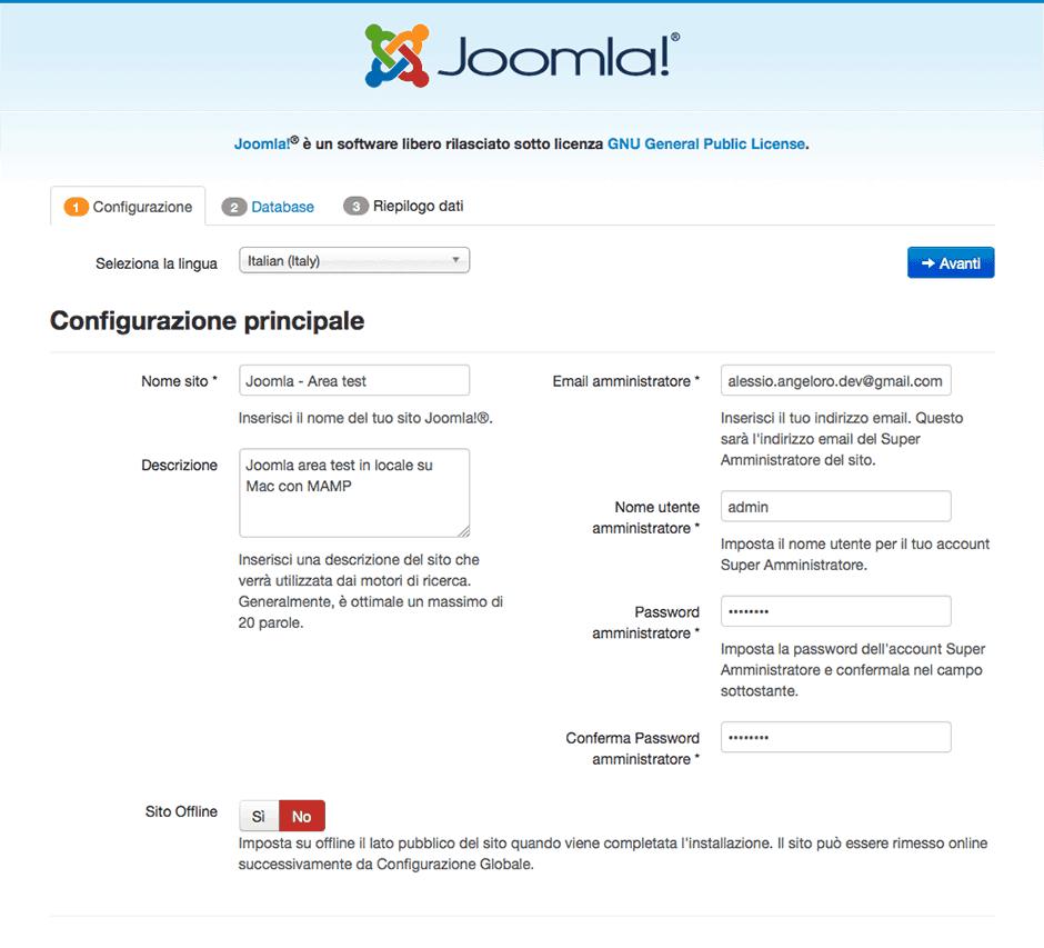 configurazione joomla locale su mac