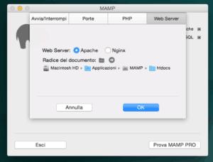 configurazione web server mamp