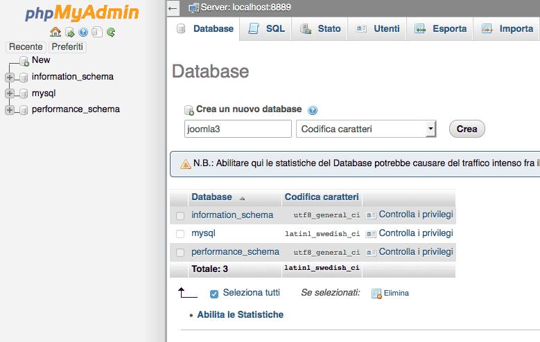 creazione database mysql