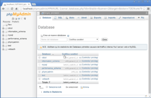 come creare un database mysql su xampp