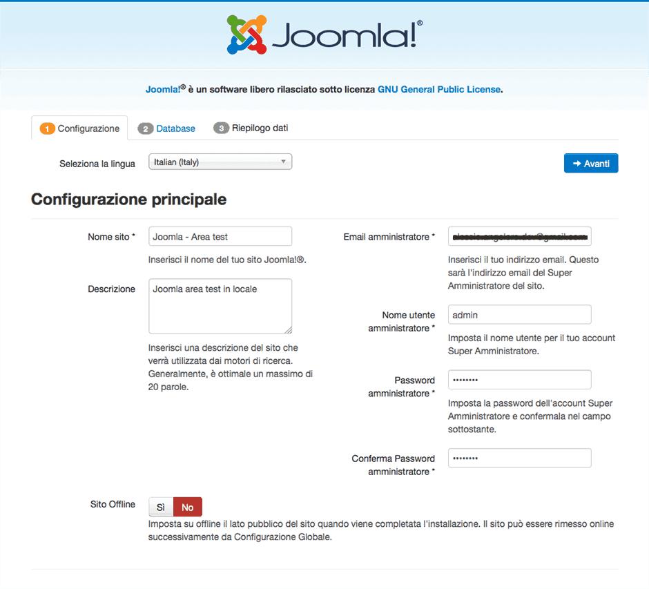 configurazione joomla locale su xampp