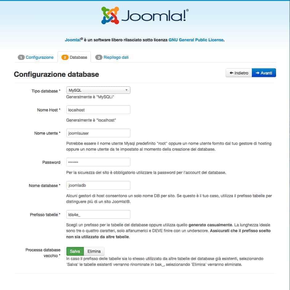 inserimento dati database joomla locale