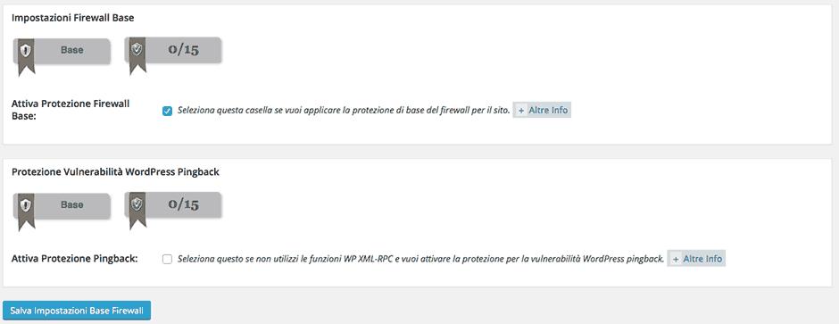 configurazione firewall wordpress