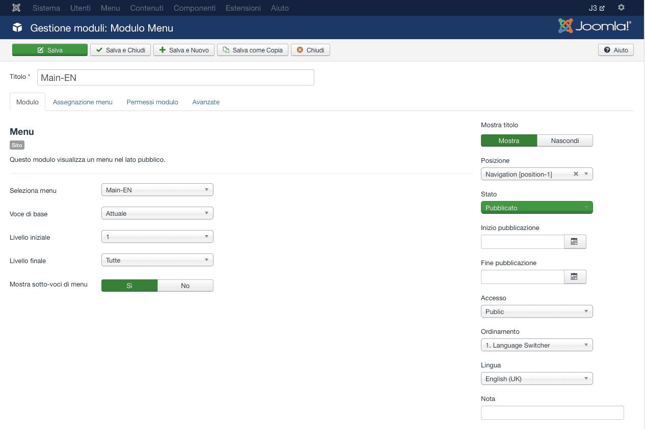 configurazione modulo menu