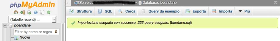 come fare un dump del database joomla
