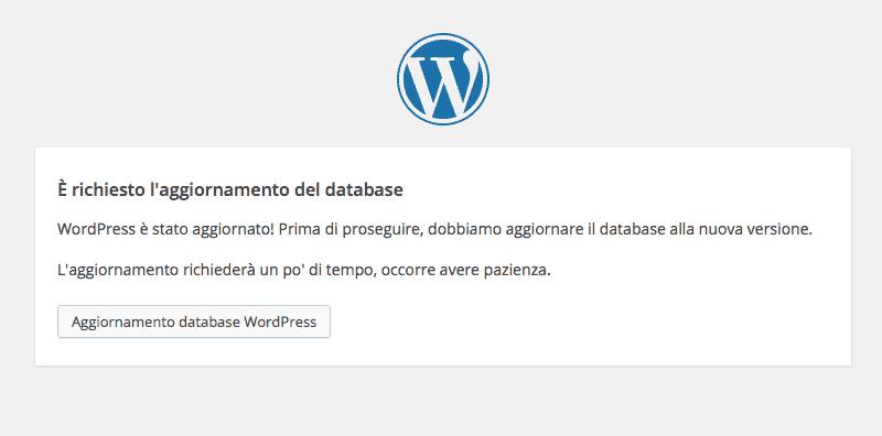 richiesta di aggiornamento database wordpress