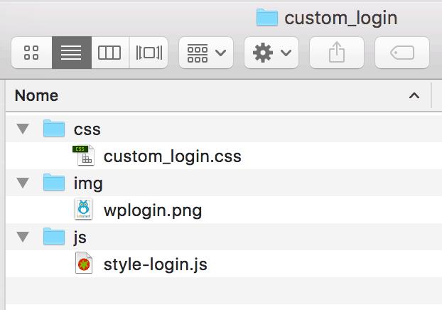 Struttura delle cartelle per override login form di WP
