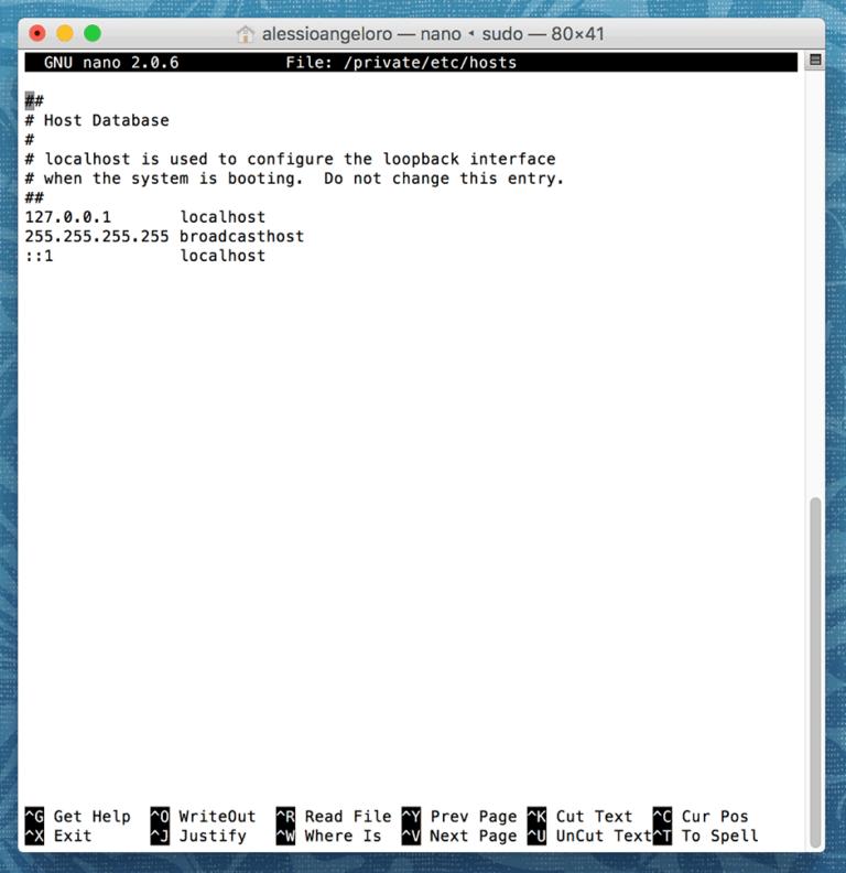 come modificare il file hosts su mac
