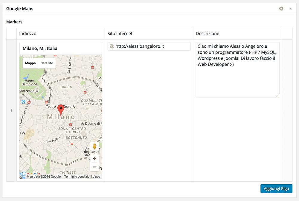 Campi personalizzati Worpress ACF con ripetitore Google Map