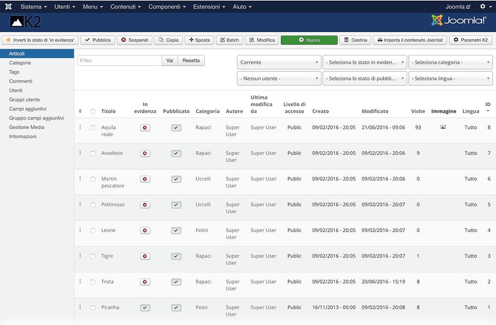 K2 Joomla downgrade