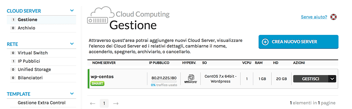 server cloud creato