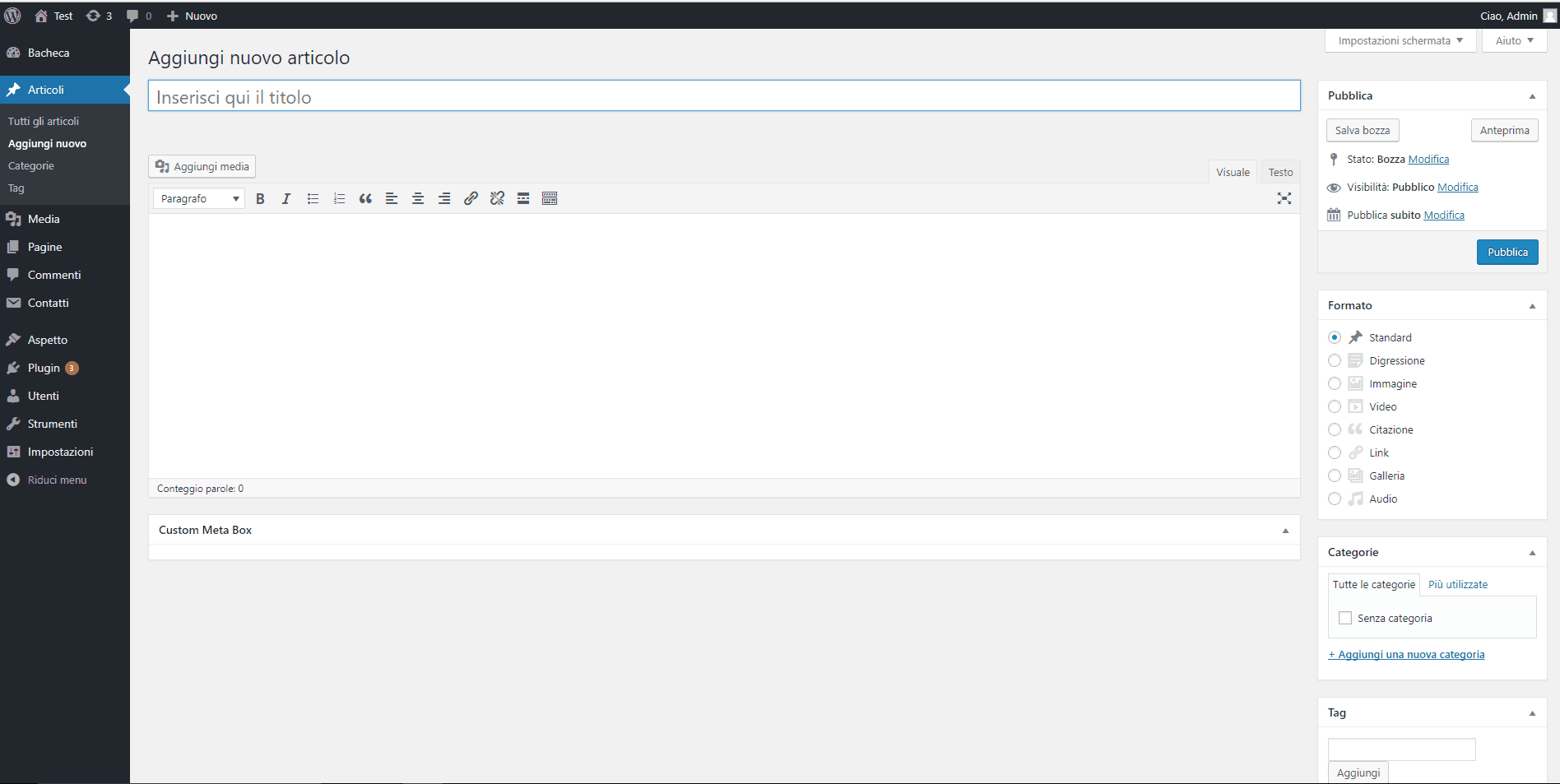 esempio wp metabox