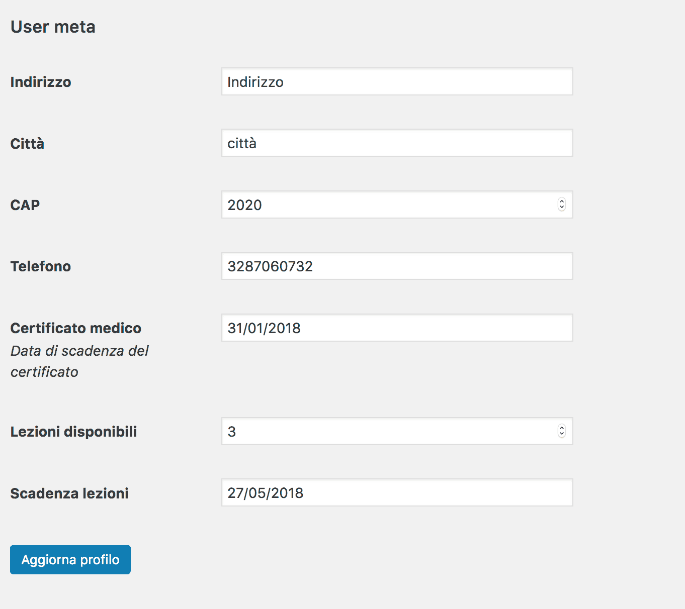 wp user extra fields