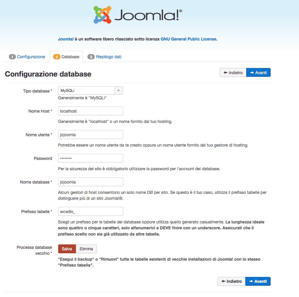 parametri database joomla