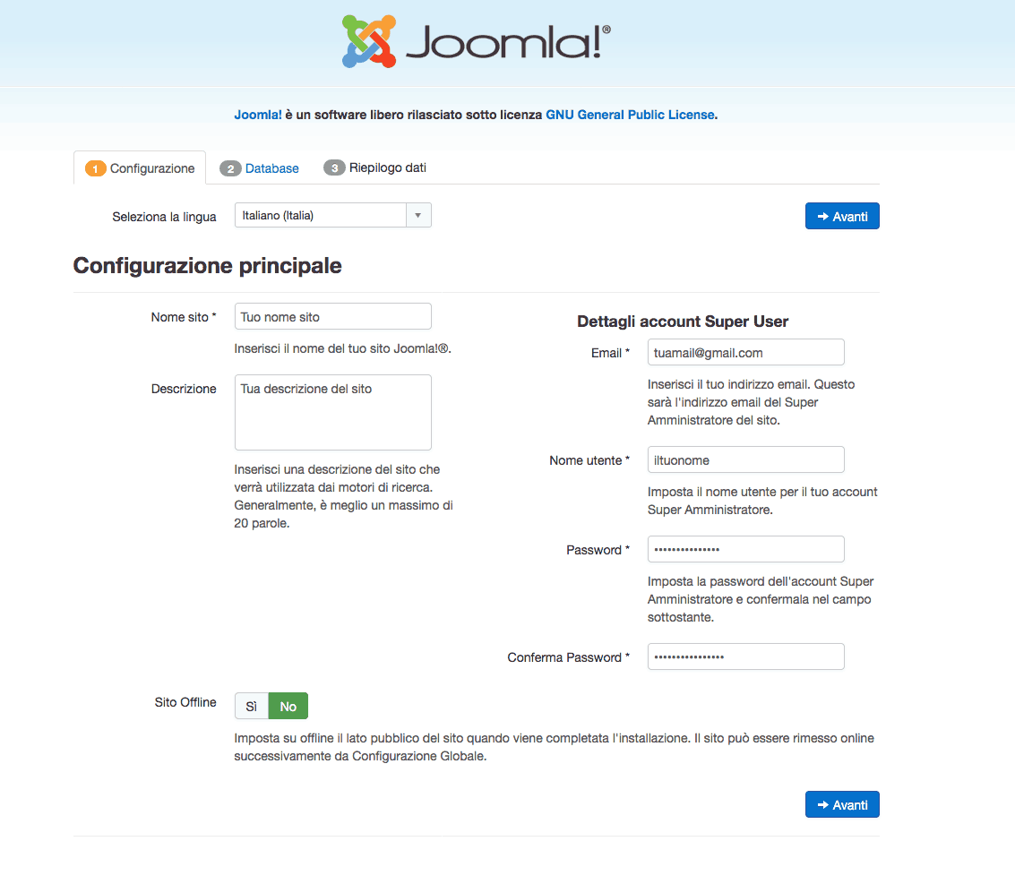 schermata installazione joomla